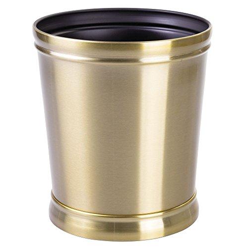 InterDesign Sutton Metal Wastebasket, Garbage Trash Can for Bathroom, Kitchen, Bedroom, Office, Laundry Room, 9