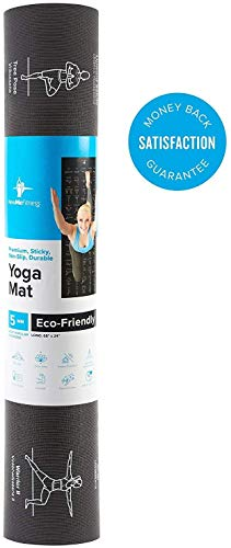 NewMe Fitness Instructional Yoga Mat, Black, Printed w/ 70 Illustrated Poses, 24 Wide x 68 Long, for Women & Men : Non Slip, Eco Friendly PVC, Non Toxic : for Home or Gym : 5mm Thick