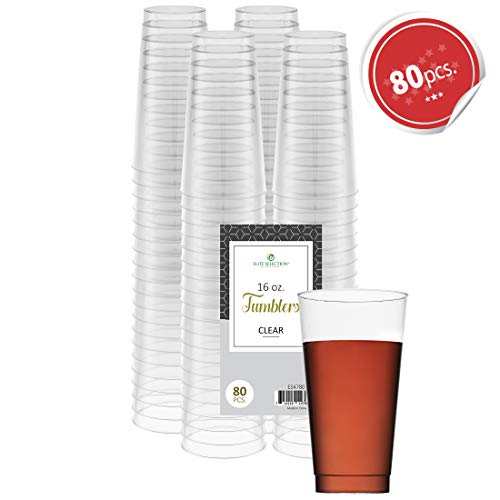 Clear Disposable Plastic Cups 16 Oz. Pack Of (80) Fancy Hard Plastic Cups - Party Accessories - Wedding - Cocktails- Tumblers -