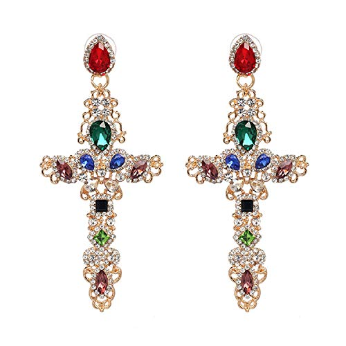 (Bnialaed Dangle Earrings Baroque Drop Earrings For Women Clothing Accessories Vintage Statement Big Gold Metal Cross Earrings Jewelry Gold multi)