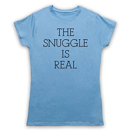 The Snuggle Is Real Cute Parody Slogan Camiseta para Mujer Azul Cielo