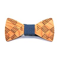 COOLTECH Men's Wooden Bow Tie Creative Handcrafted Wood Necktie for Wedding or Daily Wear (Pack of 1)