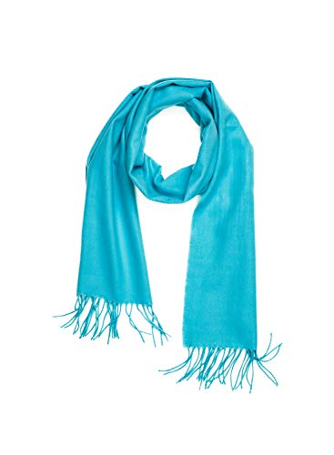 INVERNO Super Soft Luxurious Cashmere Feel Warm Winter Solid Plain Color Unisex Scarf (Sky Blue)
