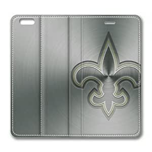 "iPhone 6 Case,Metallic New Orleans Saints on Silver Flip Leather Cover for iPhone 6(4.7"") by runtopwell"