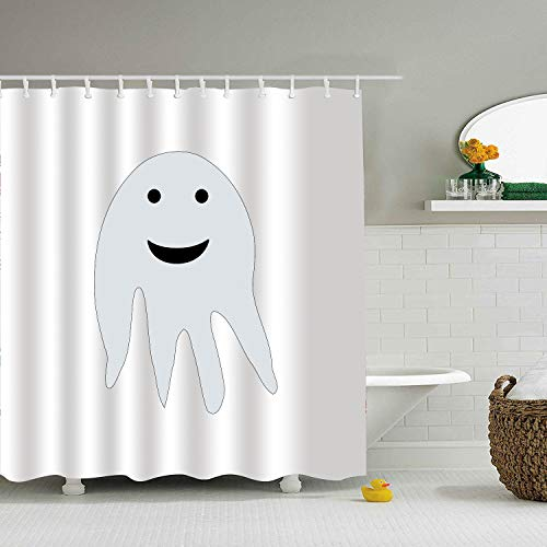 (BiesMo Ghost Happy Halloween Haunting Face Apparition Painted Shower Curtain 79 X 72 Inch for)