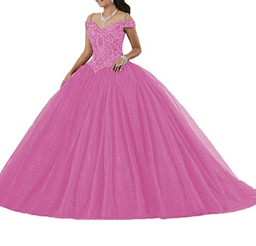Graceprom Women's Women's Puffy Beaded Crystal Quinceanera Dresses Ball Gown Sweet 16 Dresses 2 Hot Pink