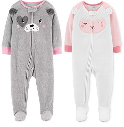 (Carter's Baby Girl's 2 Pack Fleece Footed Pajamas (Pink Print, 18 Months))