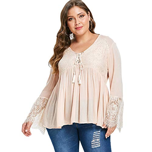 KCatsy Lace Panel Tassel Plus Size Blouse T-Shirt (Rick Vintage Rack)