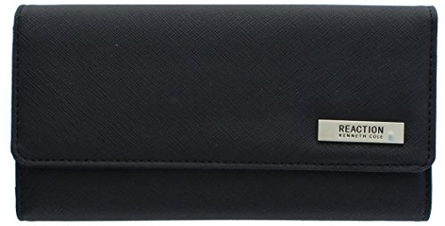 "102522-755 Kenneth Cole Reaction Trifold Clutch ""Tri-Ed & True"" (BLACK SAFFIANO) (Wallet For Women Kenneth Cole)"