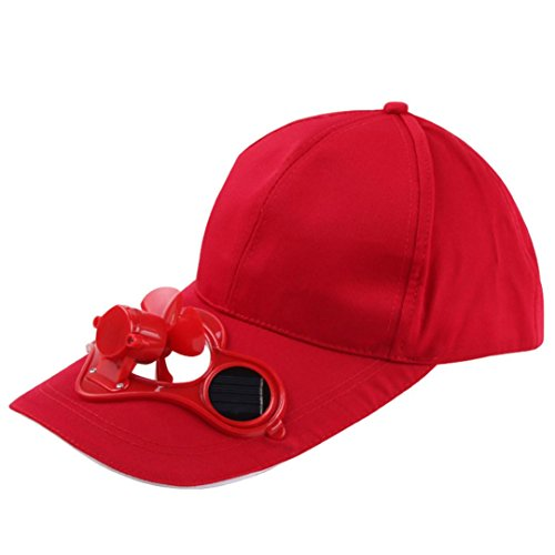 Solar Power Fan Baseball Hat Sun Cap Cooling Fan for Golf Hiking Outdoor Sport (Red)