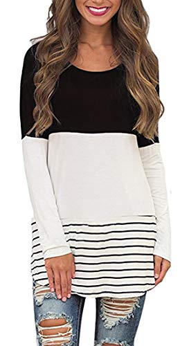 Lace Color Block Tops Long Sleeve T-Shirts Blouses (XL, Black#) ()