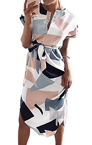 LeaLac Womens Summer Dresses Casual V-Neck Floral Print Geometric Pattern Belted Midi Pencil Dress 0425 White XS