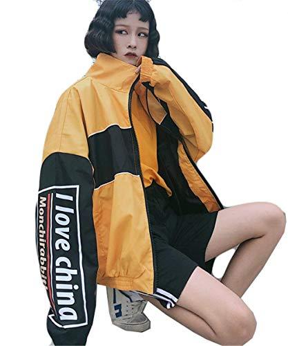 Moda Cerniera Stampato Manica Giacca Elegante Donna Chiusura Digitale Colori Sweat Misti Grazioso Autunno Casual Lunga A Coreana Giaccone Outwear Stlie Collo Gelb Primaverile 8nf48Tqxt
