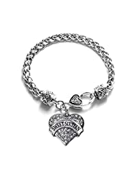 Inspired Silver Nana,Little Sis, Big Sis, Middle Sis, Family Classic Silver Plated Pave Heart Clear Crystal Charm Bracelet