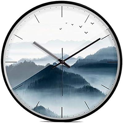GZ Relojes Modernos de la Sala de Estar del Estilo Chino de la Tinta y Reloj de Pared Lateral Fino Creativo de la Manera China Reloj de Cuarzo Mudo (Color ...