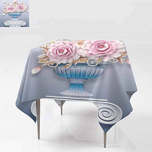 - ZWARRT Square Tablecloth Art, Flower, vase, Beautiful Flower (44),W65 x L65 for Umbrella Table