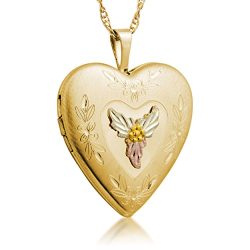 Inlaid Small Heart Locket Pendant Necklace, 10k Yellow Gold, 12k Green and Rose Gold Black Hills Gold Motif, 18