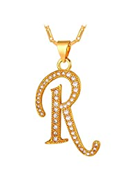 U7 Cubic Zirconia 18K Gold Plated Chain A-Z Initial Letter Pendant Necklace