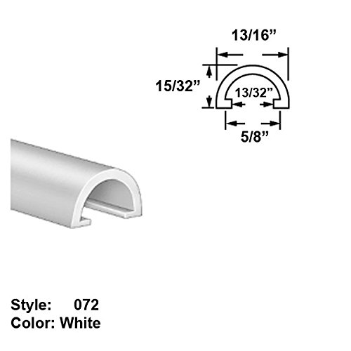 High-Temperature PTFE Plastic Half-Round Push-On Trim, Style 072 - Ht. 15/32'' x Wd. 13/16'' - White - 5 ft long by Gordon Glass Co.