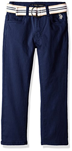 U.S. Polo Assn. Boys' Little 5 Pocket Belted Stretch Twill Pant, Classic Navy-FKFD, 6 (Cotton Stretch Belted)