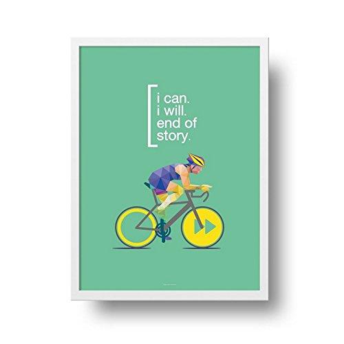 Poster Ciclismo - I can, I will - Moldura Branca - 25x35 cm
