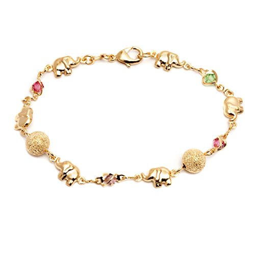 Barzel 18K Gold Plated Elephant Bracelets (Many Different Elephant Options) (Multicolor BR1354) ()