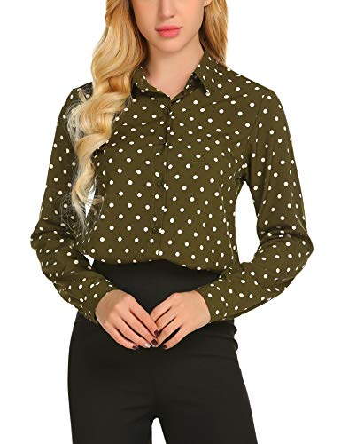 Miu Miu Green - SE MIU Women's Chiffon Long Sleeve Polka Dot Office Button Down Blouse Shirt Tops Olive Green