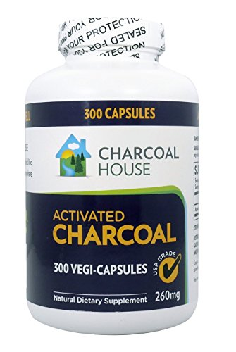 300 caps USP Activated Charcoal Capsules 260mg - Vegan 100% Pure Coconut Shell Charcoal No Filler by Charcoal House