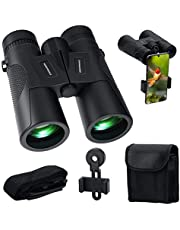 Binoculars for Adults,HONEYWHALE 12X42 High Power Compact Binoculars for Bird Watching Hunting Travel Sports Events Stargazing Telescope with Phone Adapter Mount and Carrying Case