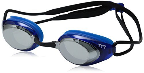 TYR Blackhawk Racing Mirrored Googles, Silver/Blue/Black, One Size