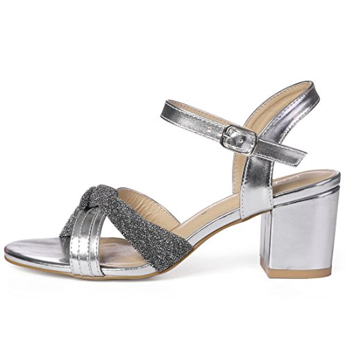 Allegra K Women's Glitter Knot Dress Sandals Silver Tone Z3a2J8M