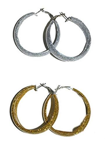 Lot de 3 - Boucles d'oreilles créole à paillettes argentÉ - Qualité COOLMINIPRIX® Générique
