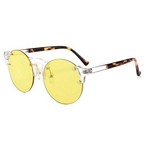 Huateng classique Jaune et lunettes femmes soleil gothique cadre de Lunettes hommes de sans soleil de Vintage mode rUR7wr