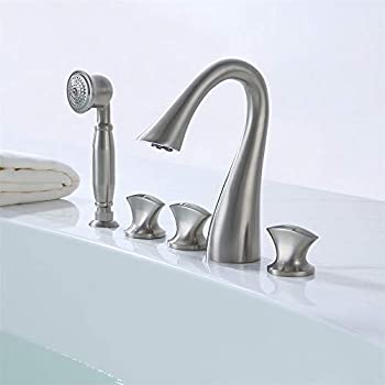 Lovedima Modern 5 Pieces Waterfall Bathroom Bathtub Faucet Roman Tub Filler with Handheld Shower