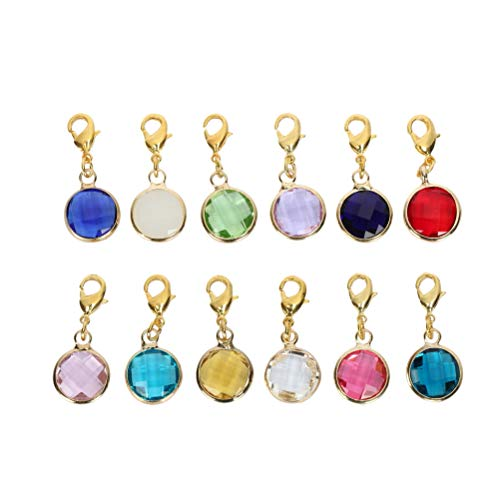2 Sets Clip On Gold Birthstone Charms 8mm Austrian Crystal with Lobster Clasp for Jewelry Craft Making CCP4-GL
