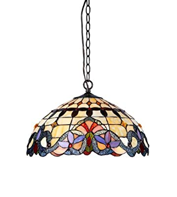 Chloe Lighting Chloe Lighting Cooper 2-Light Ceiling Chrome Tiffany Style Victorian Pendent Fixture with 18 in. Shade