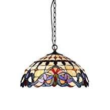 Chloe Lighting  Cooper 2-Light Ceiling Chrome Tiffany Style Victorian Pendent Fixture with 18-Inch Shade