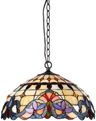Chloe Lighting CH33313VI18-DH2 Cooper 2-Light Ceiling Chrome Tiffany Style Victorian Pendent Fixture with Shade, 9.25 x 17.72 x 17.72 , Bronze