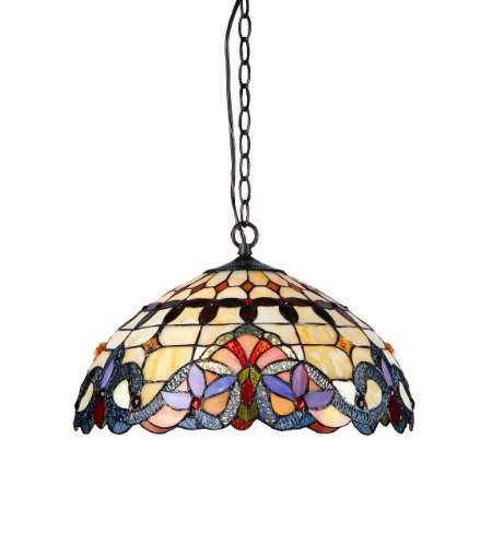 Chloe Lighting CH33313VI18-DH2 Cooper 2-Light Ceiling Chrome Tiffany Style Victorian Pendent Fixture with Shade, 9.25 x 17.72 x 17.72