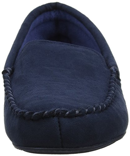 Isotoner Herren Mens Suedette Moccasin Slipper Niedrige Hausschuhe blau (marineblau)