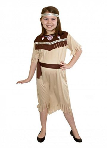 Indian Squaw Costume Child (Humatt Perkins Indian Squaw Girls Medium Indian Fancy Dress Costume for Children's Wild West Cowboy Outfit by Humatt Perkins)
