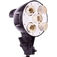Fovitec StudioPRO - 5 Light Socket Head With Umbrella Mount - [Continuous Lighting][Fits Five CFL Bulbs][Standard 3 Prong Power Cord Included Only]