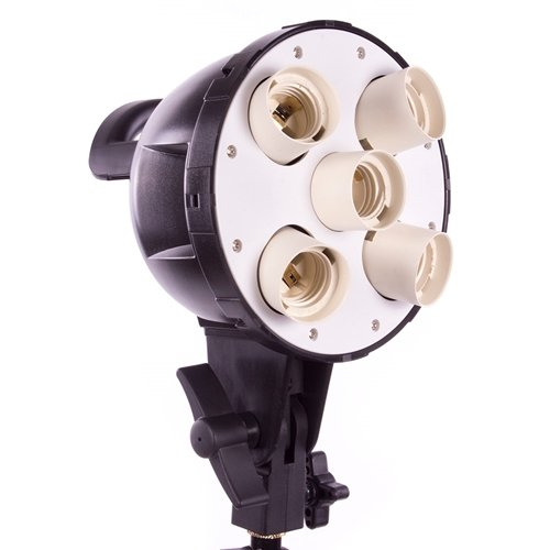 (Fovitec StudioPRO - 5 Light Socket Head with Umbrella Mount - [Continuous Lighting][Fits Five CFL Bulbs][Standard 3 Prong Power Cord Included Only])