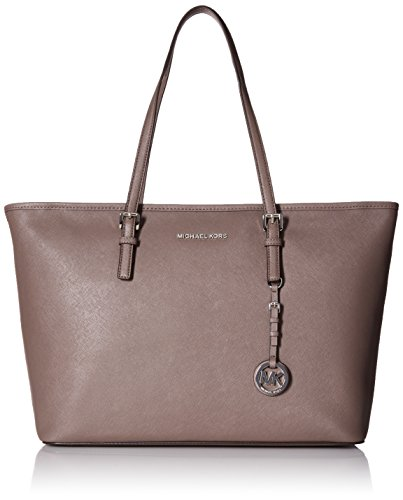 MICHAEL Michael Kors Jet Set Travel Medium Saffiano Leather Top-Zip Tote (Cinder)