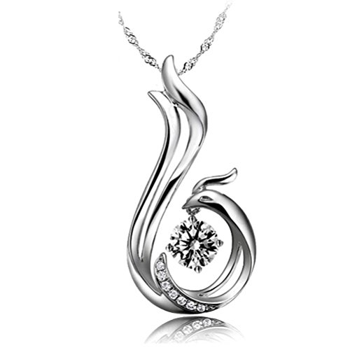 Latigerf Women's Bird Phoenix Pendant Necklace Sterling Silver Austrian Crystal White