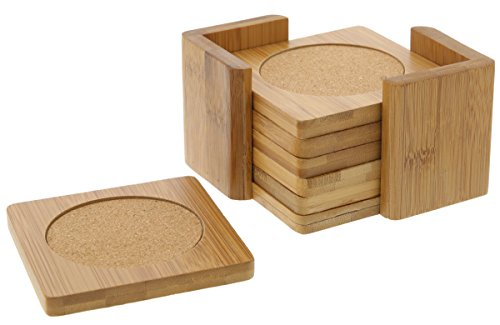 - 6-Piece Drink Coasters Set - Square Bamboo Coasters with Holder - 3.75 x 3.75 inches