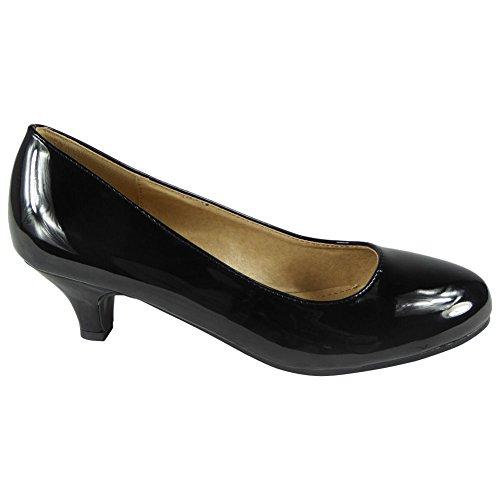 Negro Posh Kitten Court 8 Faux Zapatos de Heel Mid Low Tamaño Casual mujer Damas Pat Work 3 Suede HaWZEP