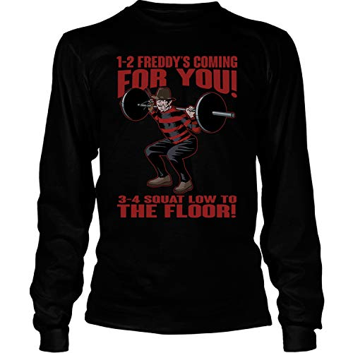 1-2 Freddy's Coming for You T Shirt, 3-4 Squat Low to The Floor T Shirt - Long Sleeve Tees (S, -