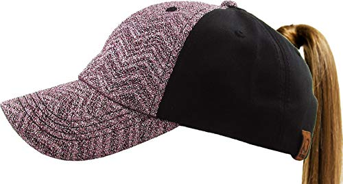 All Hat Ponytail Vintage Sports Glitter Messy High Bun Hat Ponycaps Adjustable Cotton and Mesh Trucker Baseball Cap (Adjustable, (9) Chevron Glitter Pink) ()