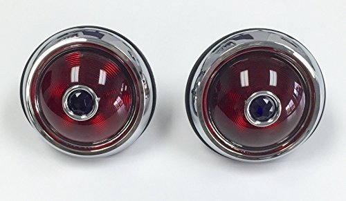 Hot Rod 1950 Pontiac Style Glass Lens Tail Lights With Blue Dots Pair Rat (Hot Rod Tail Lights)